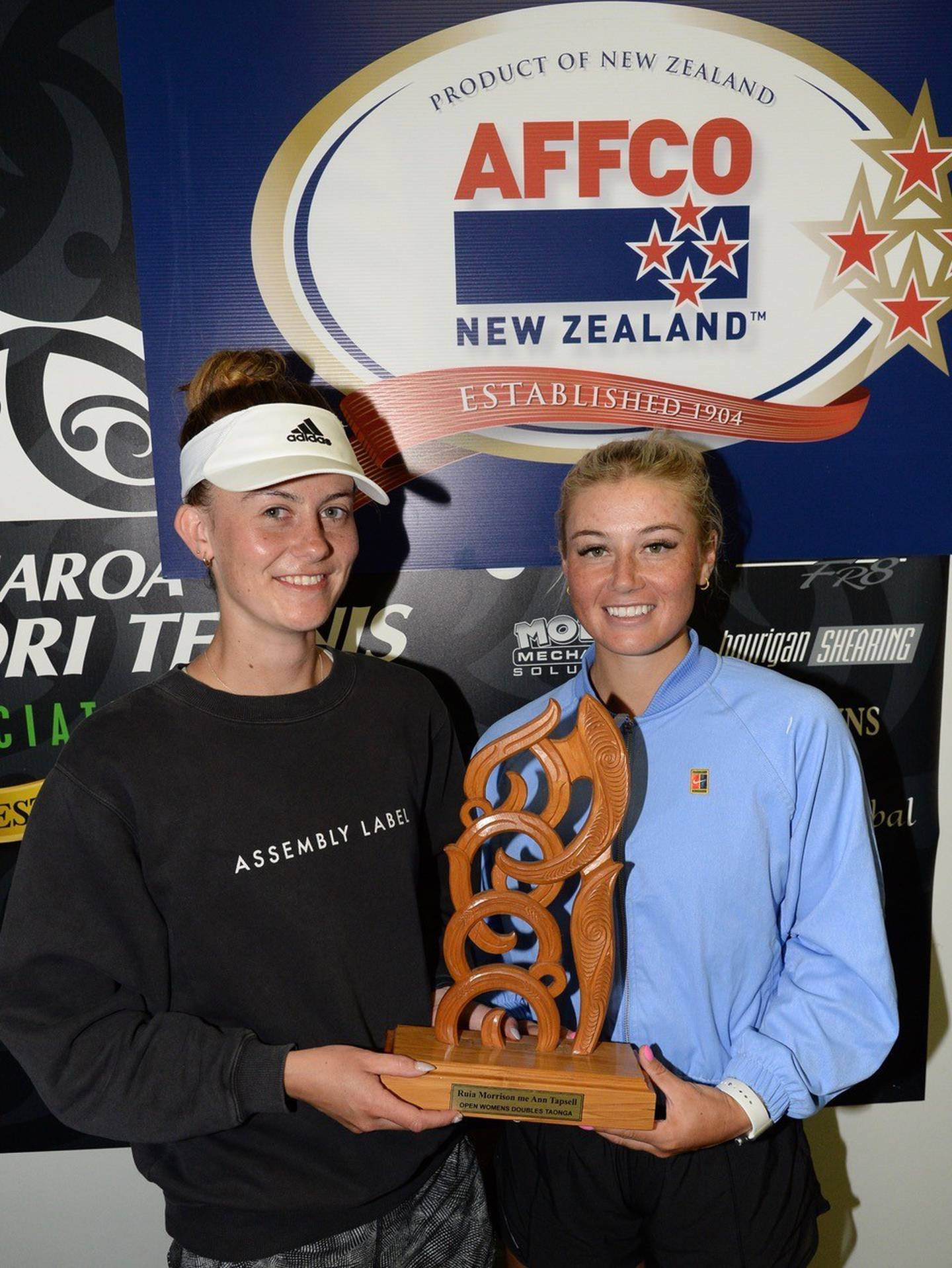 Whanganui cousins Paris Butters (left) and Kiwi No1 Paige Hourigan claimed the women's doubles title at the Aotearoa Māori Tennis Championship this week. Hourigan also won the women's singles title and Butters the mixed doubles with brother Kyle for the fourth time. Photo / Supplied