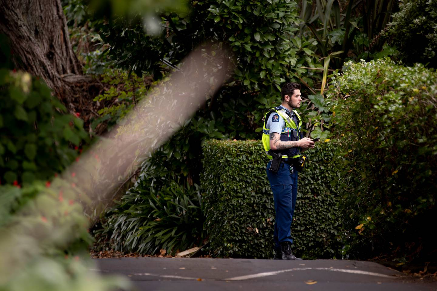 """Police and forensic units at the home shared by Pauline Hanna and her husband Philip Polkinghorne after her death, which is still deemed """"unexplained"""". Photo / Dean Purcell"""
