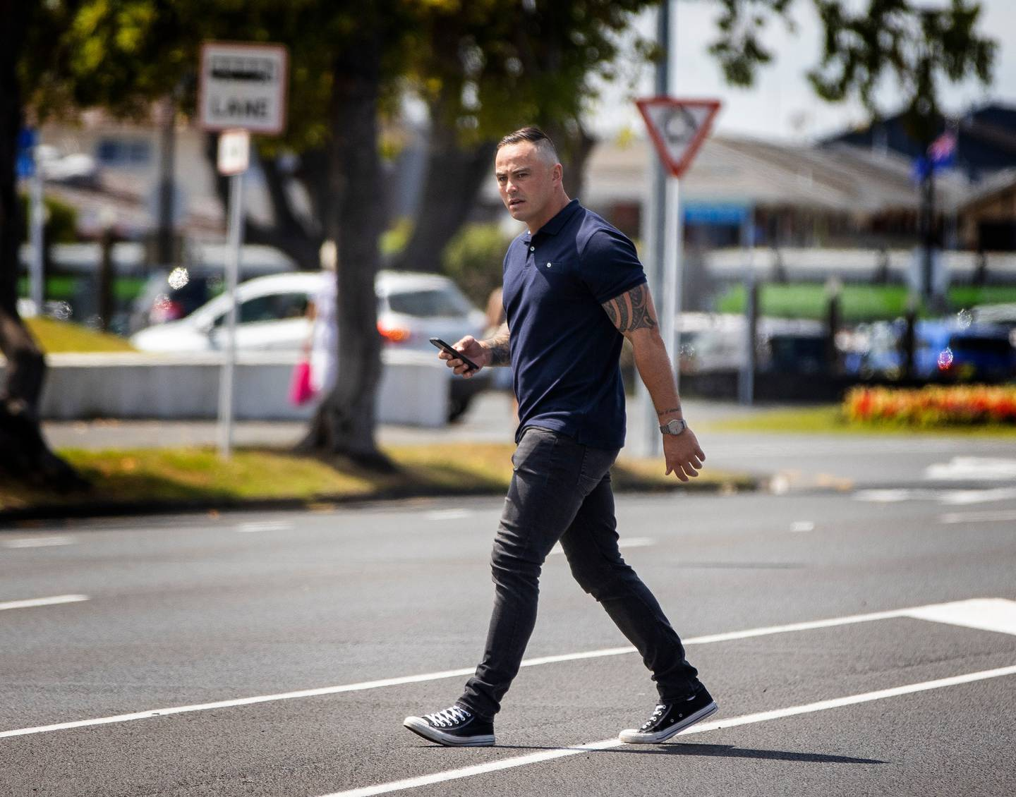 Zac Guildford walks to the Hamilton District Court in January this year to be sentenced on a charge of assaulting a female. He lost an appeal to keep his name secret. Photo / Mike Scott