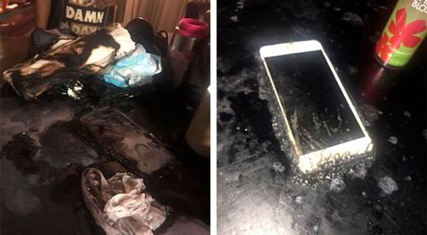 The counter top where she set herself on fire is shown (left) and her phone (right). She is thought to have used a cherry scented Bath and Body Works spray to douse herself. Photo / Facebook