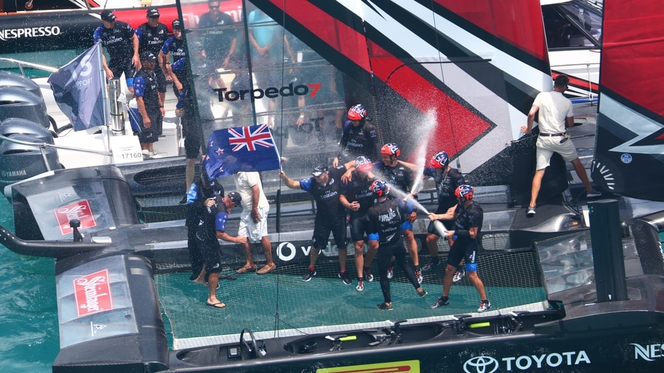 Team New Zealand celebrate 35th America's Cup Match win. Photo / Gilles Martin-Raget