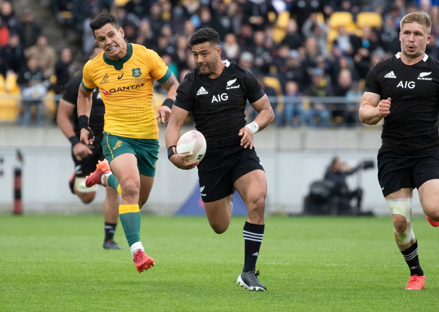 All Blacks first-five Richie Mo'unga was a target of the Wallabies throughout the first Bledisloe test. Photo / Mark Mitchell