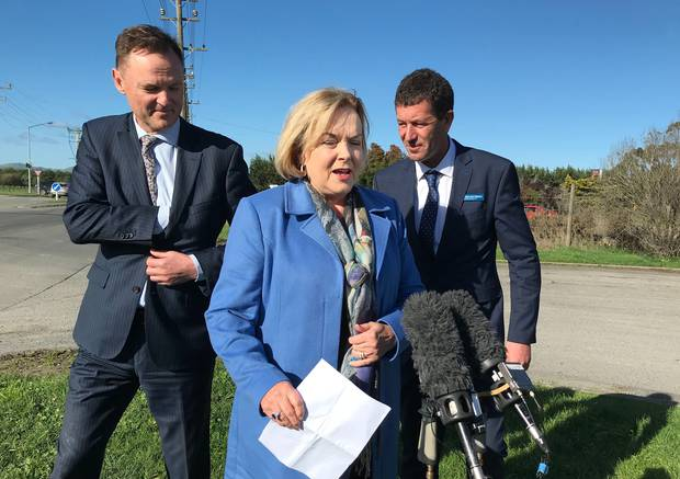 Judith Collins on the campaign trail in the Wairarapa today with retiring Wairarapa MP Alistair Scott (left) and new National candidate Mike Butterick. Photo / Audrey Young