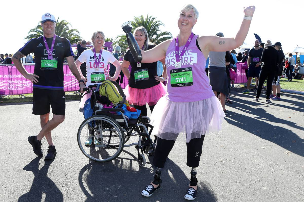 Emotions high as Havelock North woman with prosthetic limbs crosses Hawke's Bay marathon finish line