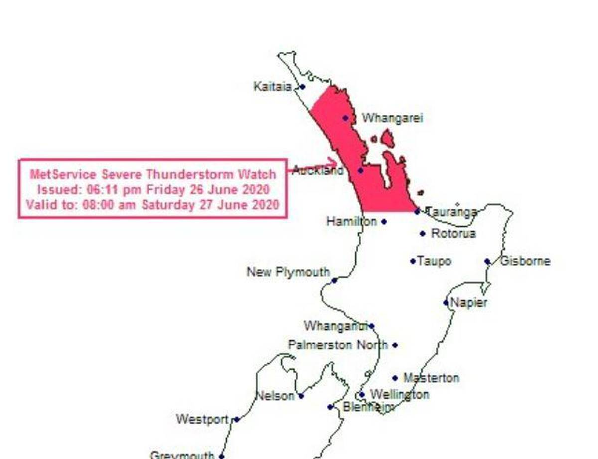 Wild weather: Severe thunderstorm warning as rain lashes Auckland, top of the North Island