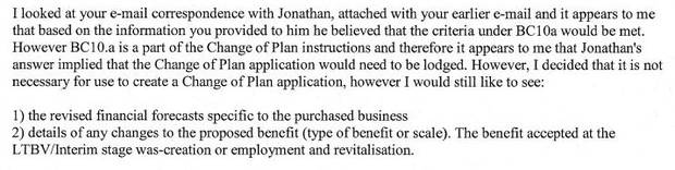 An immigration case officer advised the family did not have to re-submit an updated business plan.
