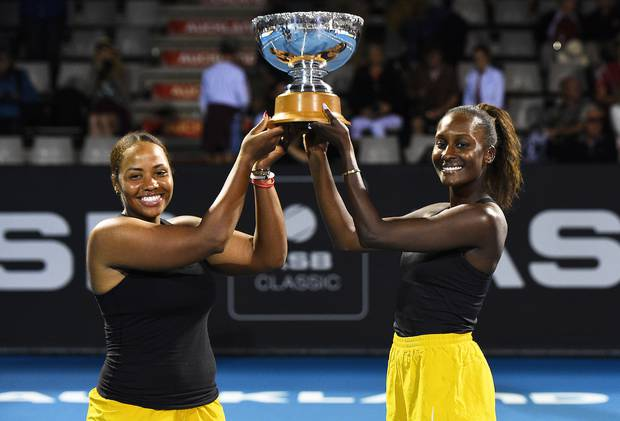 United States players Taylor Townsend and Asia Muhammad with the ASB doubles Trophy after beating Serena Williams and Caroline Wozniacki. Photosport