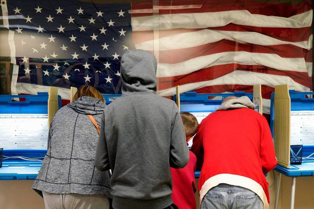 Residents vote early at the Douglas County Election Commission office in Omaha, Nebraska.