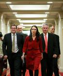 Prime Minister elect Jacinda Ardern with Grant Robertson and Kelvin Davis. Photo/Hagen Hopkins, Getty Images