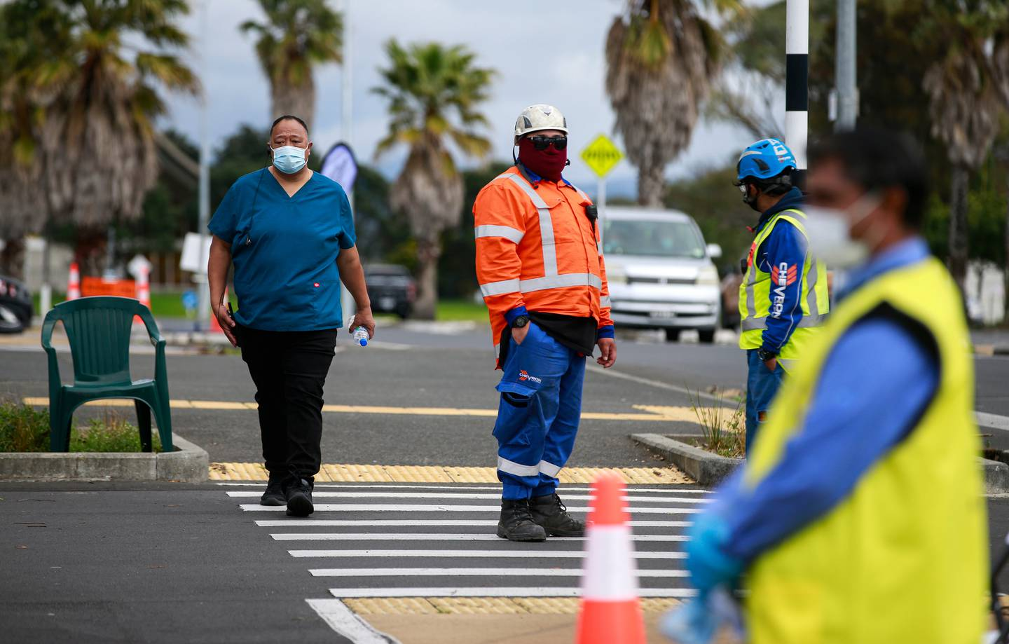 Workers at a vaccination centre at the Māngere Town Centre in South Auckland. Photo / Alex Burton