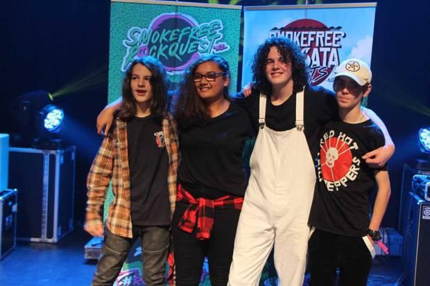 Winning Whanganui High School alt-rock band In Business is (from left) Christian Garratt, Faith Solomona, Max Hughes and Tomas Bidgood. Photo / supplied