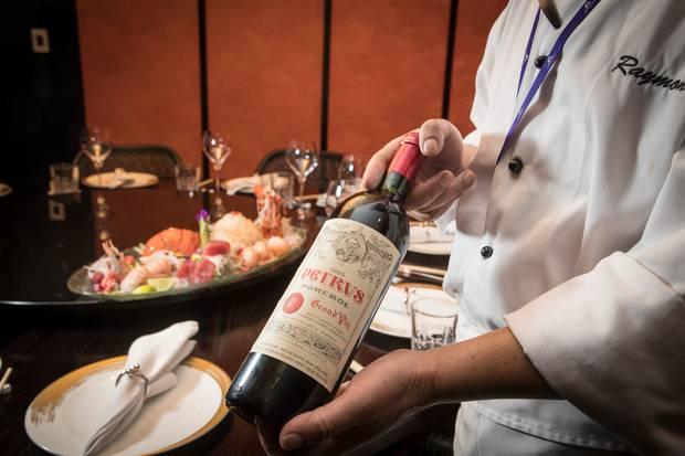 A $7500 bottle of 1985 Petrus is part of the premium Chinese New Year set menu offering. Photo / Michael Craig