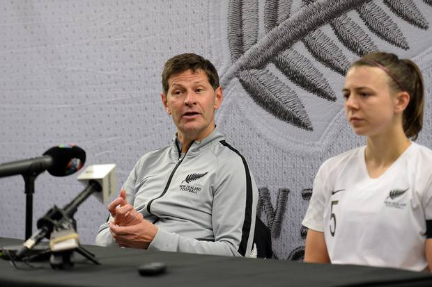 Football Ferns' coach Andreas Heraf addressing the media after the International Friendly Women's Football between Football Ferns vs Japan. Photo / Photosport.co.nz