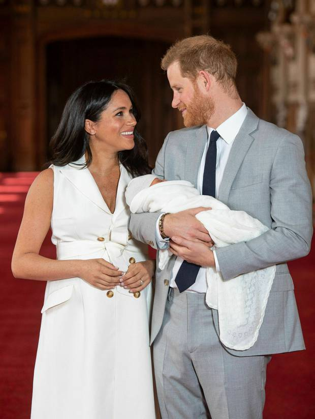 Britain's Prince Harry and Meghan, Duchess of Sussex, during a photocall with their newborn son. Photo / AP