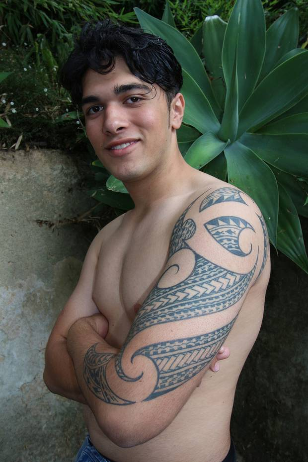 Marli Atu received the tatau - the pattern telling the story of his blended Fijian and Samoan heritage, as well as his close connection to Maori culture - as birthday gift. Photo / Graham Hooper