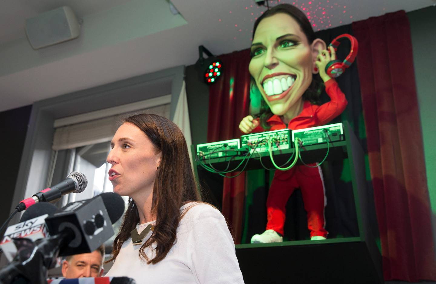 Prime Minister Jacinda Ardern at her puppet unveiling in 2018. Photo / Mark Mitchell