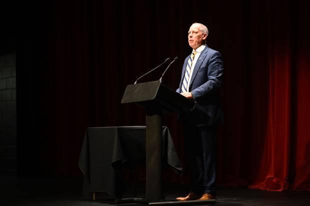 Tenby Powell addressing the meeting. Photo / George Novak