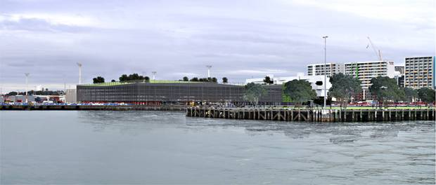 Artist impression of a car park building proposed for Bledisloe Wharf on the Auckland Waterfront. Photo / Supplied