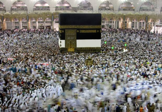 Muslim pilgrims circumambulate around the Kaaba, the cubic building at the Grand Mosque, ahead of the Hajj pilgrimage in the Muslim holy city of Mecca. Photo / AP