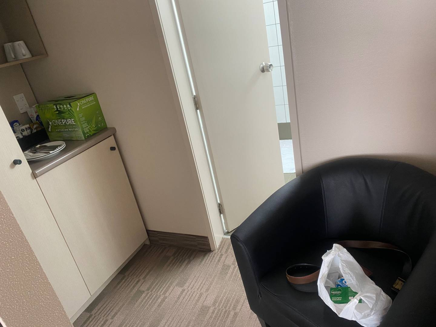 The returnee says his tiny room has no table to eat and work on and barely any room to move about. Photo / Supplied