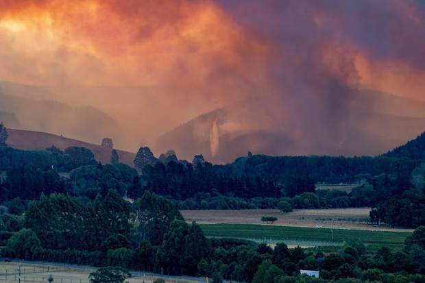 The Nelson fire seen after a flare-up near Wakefield on Thursday. Photo / Aimee Jules