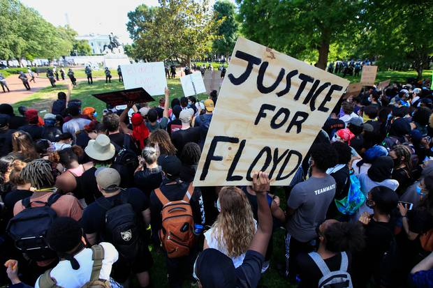 Demonstrators gather to protest against the death of George Floyd. Photo / AP Photo