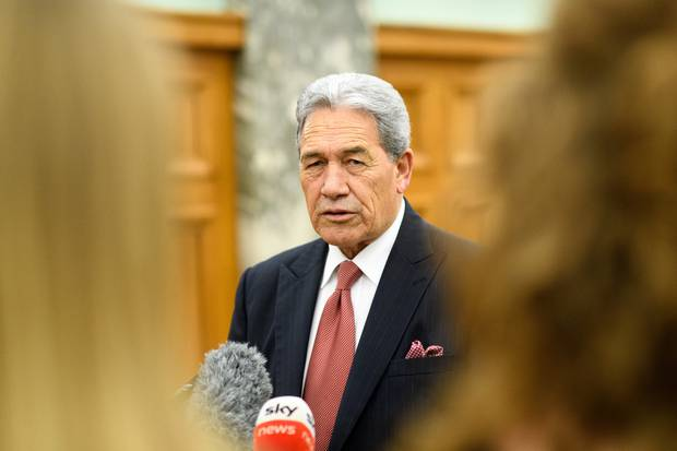 Winston Peters speaks with media at Parliament today. Photo / Mark Tantrum