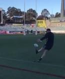 Jordie Barrett kicks at goal.