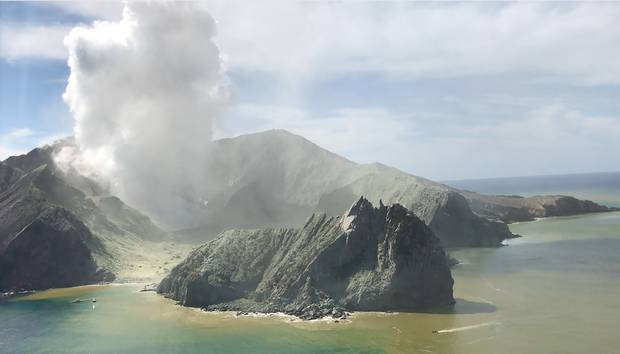 White Island viewed from the Westpac Rescue Helicopter on 09 December 2019. Photo / Supplied