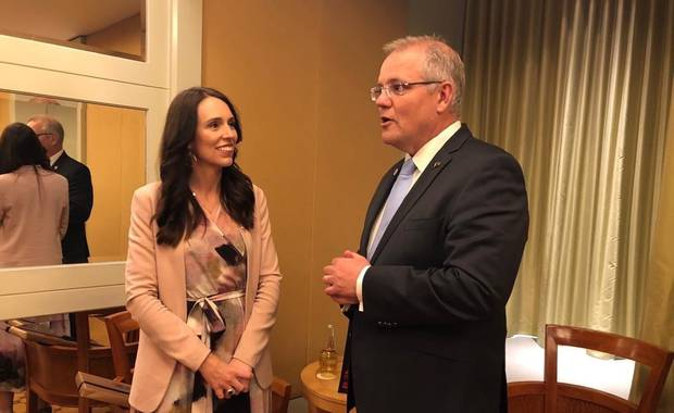 New Zealand Prime Minister Jacinda Ardern with Australian Prime Minister Scott Morrison at the ASEAN summit in Singapore. Photo / Supplied