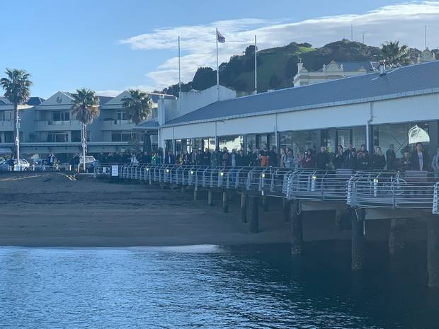 A series of cancellations to the Devonport ferry services left hundreds queuing this morning. Photo / Sarah Dwyer