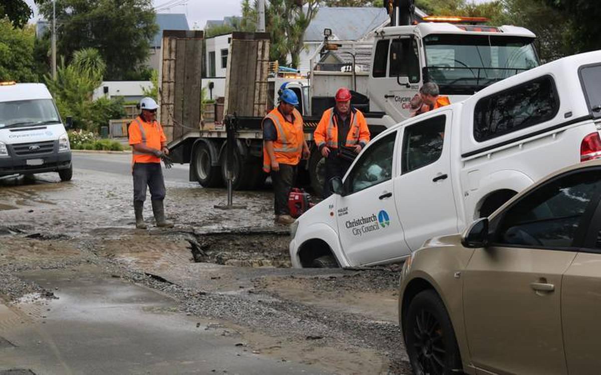 Sinkhole swallows Christchurch City Council vehicle