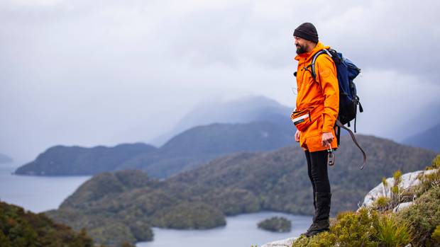 Sam, a Pure Salt crew member, on Indian Island in Fiordland's Dusky Sound. Photo / Supplied