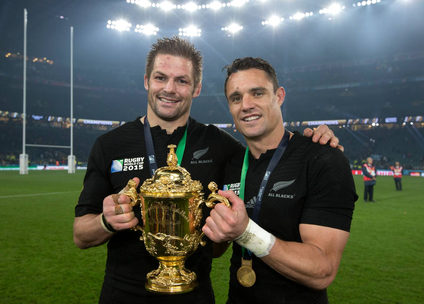 Richie McCaw and Daniel Carter with the Webb Ellis Cup after winning the 2015 Rugby World Cup Final. Photo / Brett Phibbs