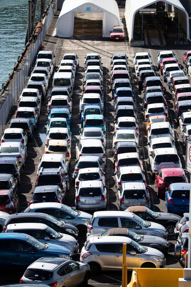 Up to 300,000 imported cars are stored at the Ports of Auckland annually. Photo / Jason Oxenham