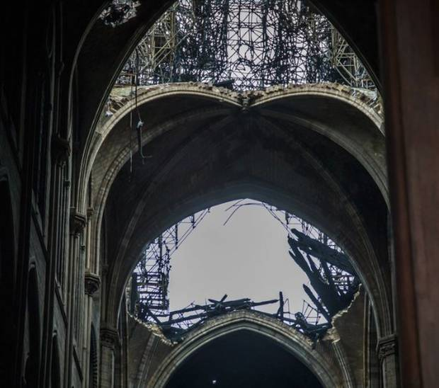 A hole is seen in the dome a year ago.