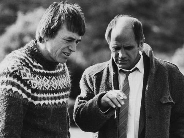 Geoff Murphy and lead actor Bruno Lawrence. Photo / NZ Film Commission