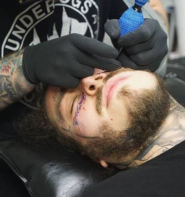 Post Malone's ridiculous new face tattoo - NZ Herald