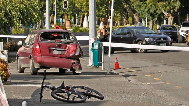 Joshua Mou's bike and a van collided opposite the BP service station on Railway Rd in Hastings about 5pm on Monday. Photo / Duncan Brown