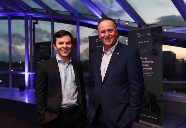 Sir John Key (right) with Crimson Global Academy chief executive Jamie Beaton at a panel discussion last month on the future of education. Photo / Dean Purcell