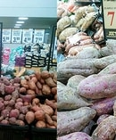 Red kumara prices in New Zealand (left) versus purple kumara prices in Australia (right). Photo / Facebook