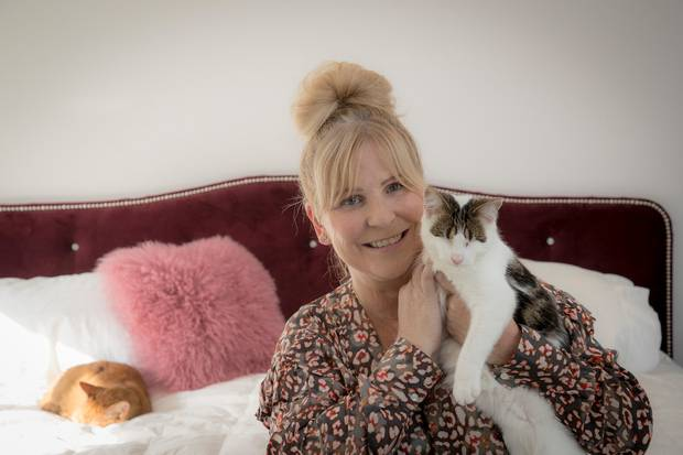Julie Chapman, founder of Pet Refuge, at home with two of her eight rescue cats. Photo / Michael Craig
