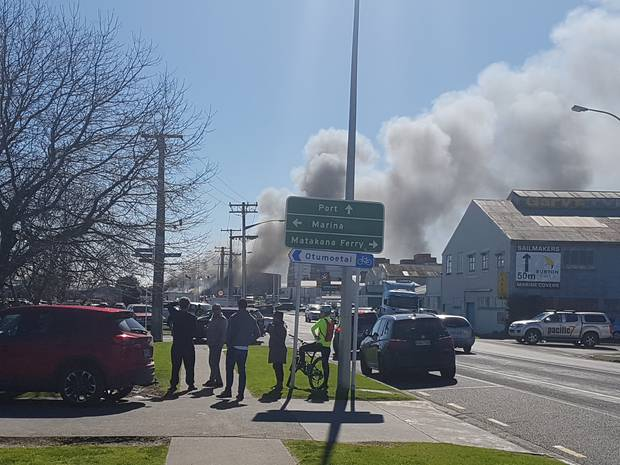 A large fire is burning at the Port of Tauranga. Photo/Scott Yeoman