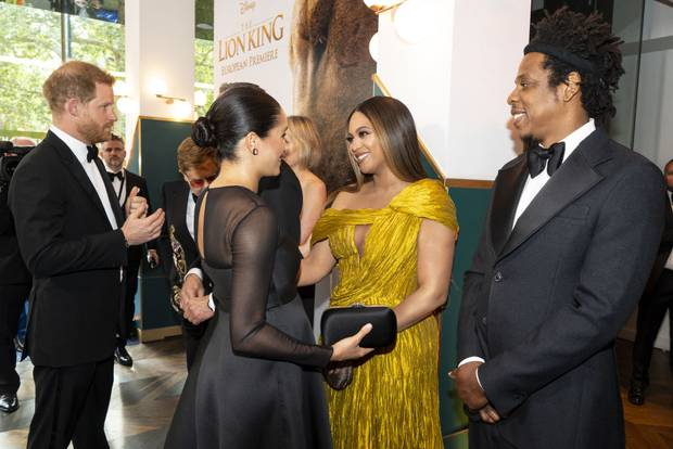 Prince Harry, Meghan Markle, Beyonce, and Jay-Z at the European premiere of The Lion King. Photo / Getty Images
