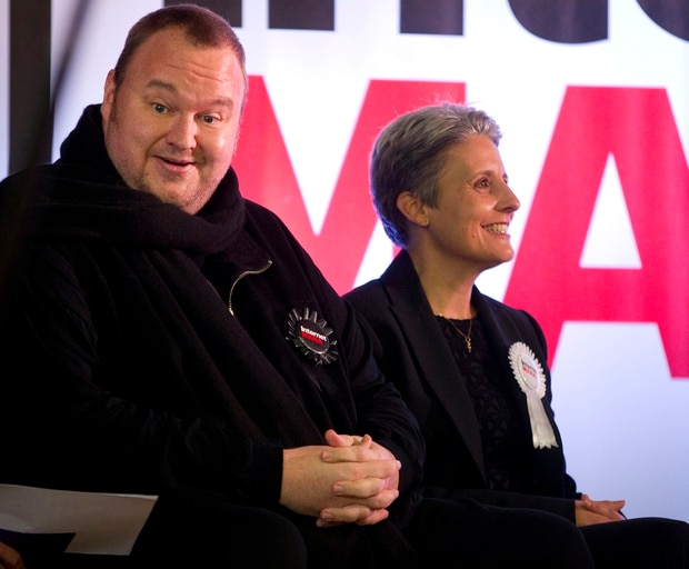 Dotcom with former party leader Laila Harre during the election campaign in 2014. Photo / File