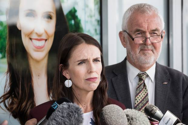 Jacinda Ardern and former Labour Party president Nigel Haworth during a press conference. Photo / Greg Bowker