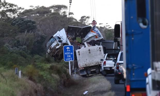 A damaged truck at the crash scene at Pikowai. Photo / file
