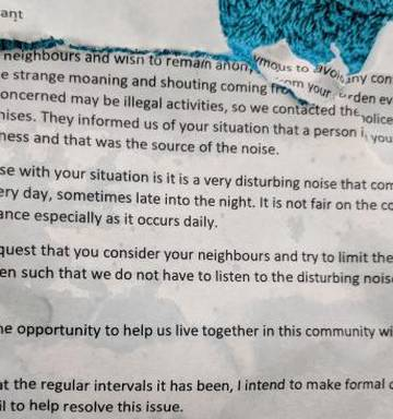 Mum hurt by neighbour's anonymous, threatening note about