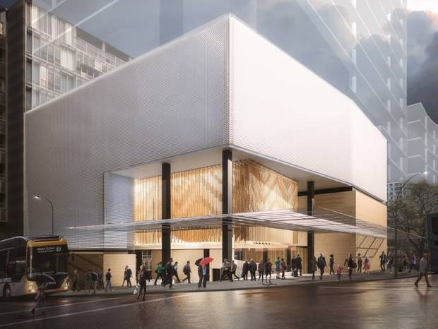 An Artist's impression of the new City Rail Link station entrance at the intersection of Wellesley St West and Albert St. Image / City Rail Link Ltd