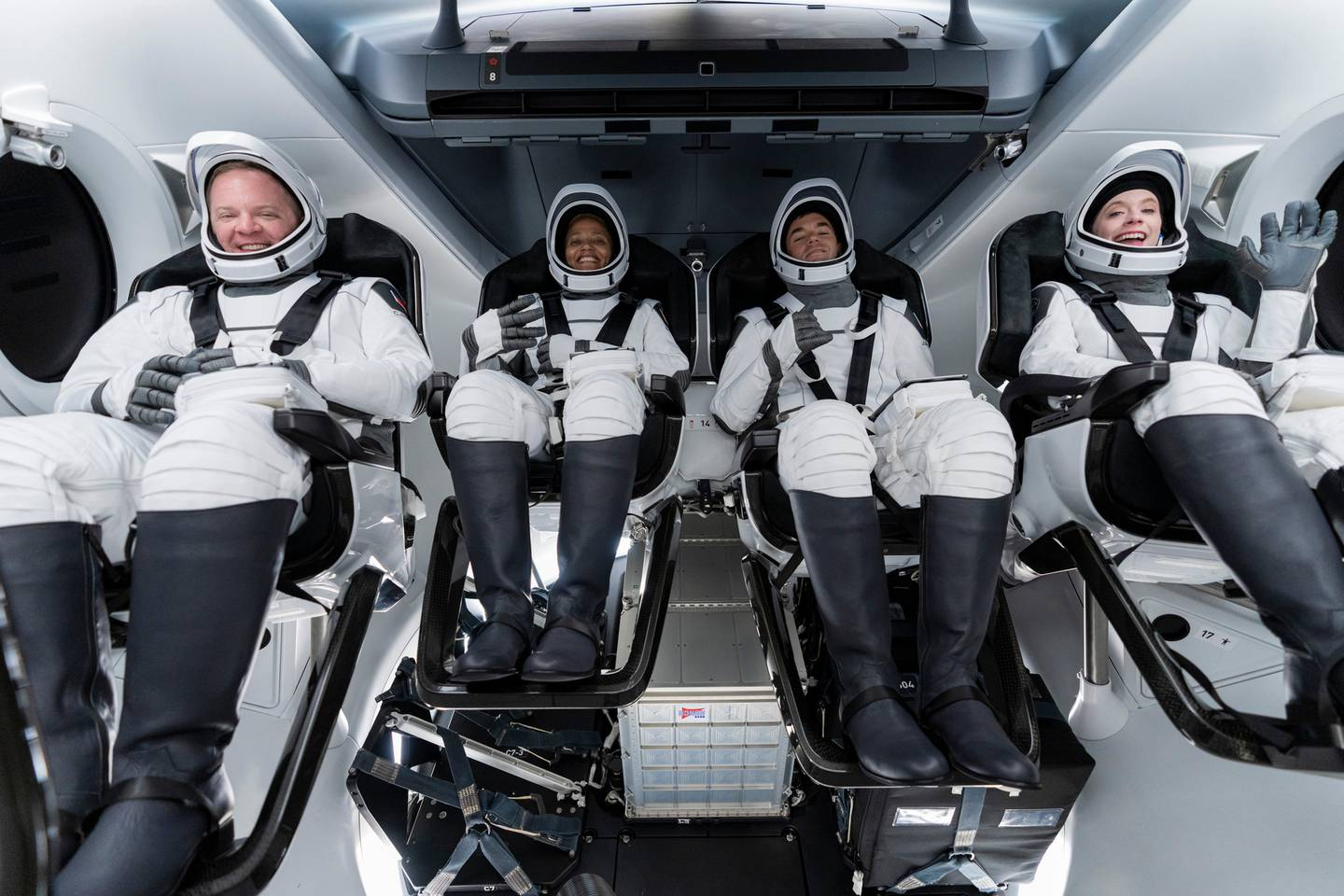 Chris Sembroski, Sian Proctor, Jared Isaacman and Hayley Arceneaux sit in the Dragon capsule at Cape Canaveral in Florida. Photo / AP